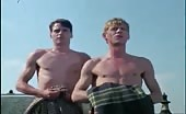 Ass bandits Anthony Andrews and Jeremy Irons in rooftop escapades