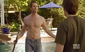 Butt Driller Garret Dillahunt Cleans The Pool with his Top Off