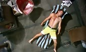 Shit stabber Oliver Hudson spread eagle on a sun lounger