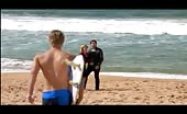 Butt lover Luke Mitchell at the beach