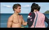 Bum lover Brenton Thwaites Shirtless At Beach