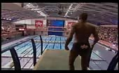 Hot black bummer dives from the high board