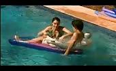 Twink Sam Clark in garden pool