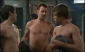 Horny Gay Threesome Neighbours Locker Room Scene