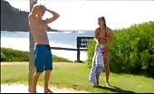 Luke Mitchell Takes an outdoor shower by the ocean