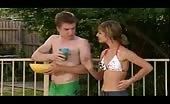 Sam Clark Loks On As Everyone Else Has Fun In THe Pool